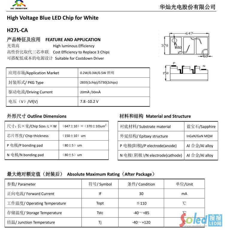 H27L-CA 华灿光电 LED芯片