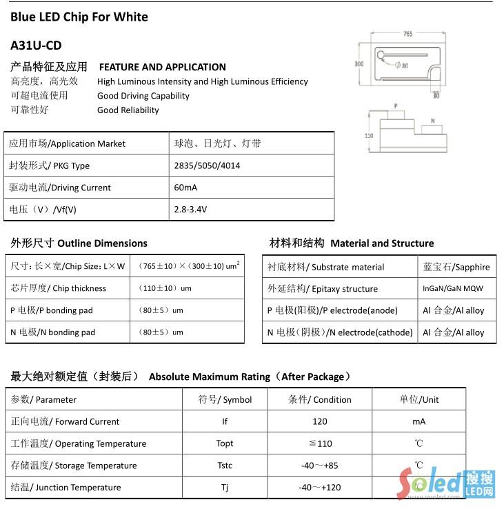 A31U-CD 华灿光电 LED芯片