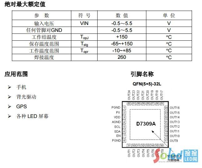 D7309便携式设备 LED控制器 得倍电子{M