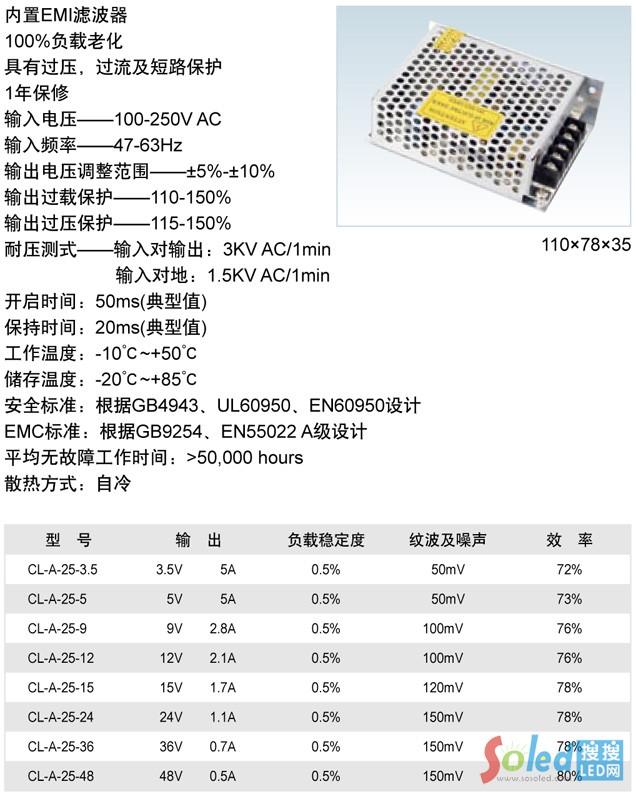 25W单组开关电源(CL-A-25系列)LED电源 诚联电源